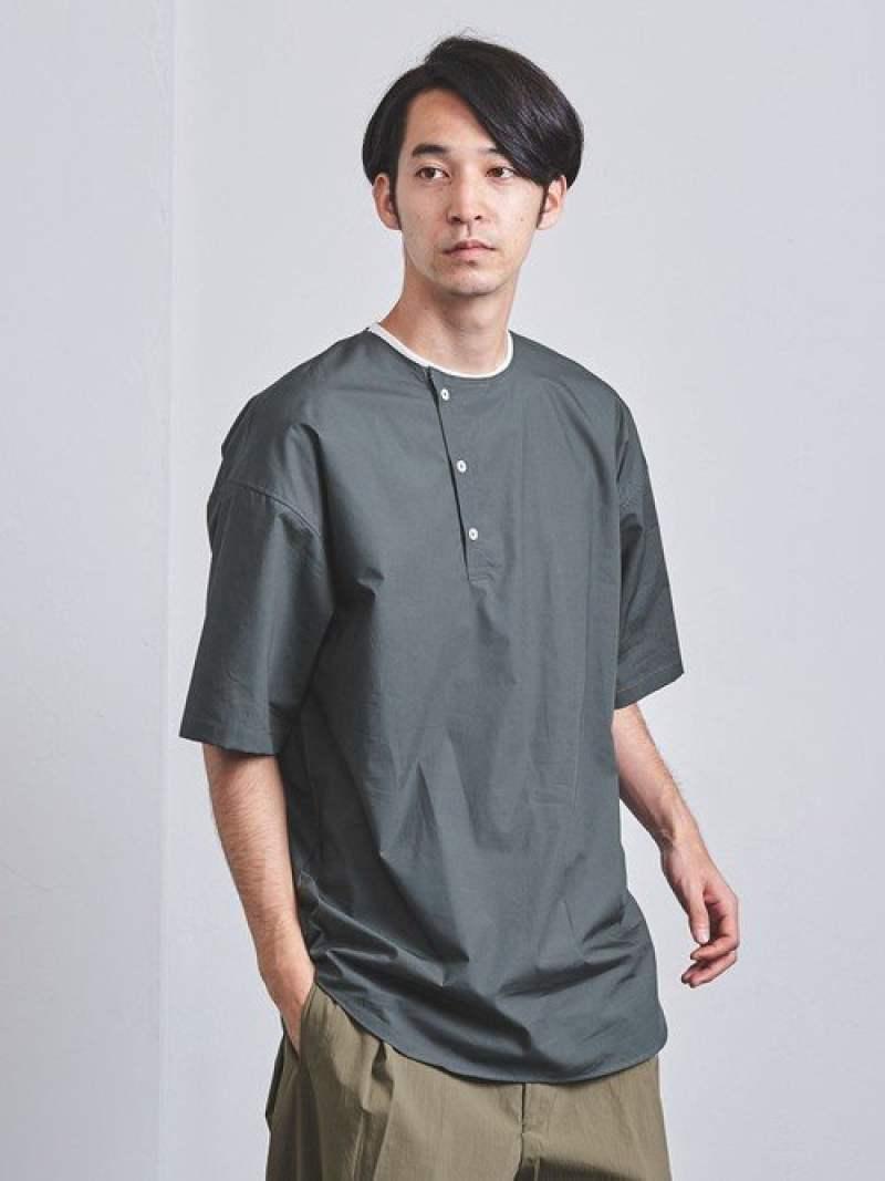 [Rakuten Fashion]<ENROUTE(アンルート)>コットンタイプライターノーカラープルオーバーシャツ EN ROUTE ユナイテッドアローズ シャツ/ブラウス 長袖シャツ グレー ホワイト ブラック【送料無料】