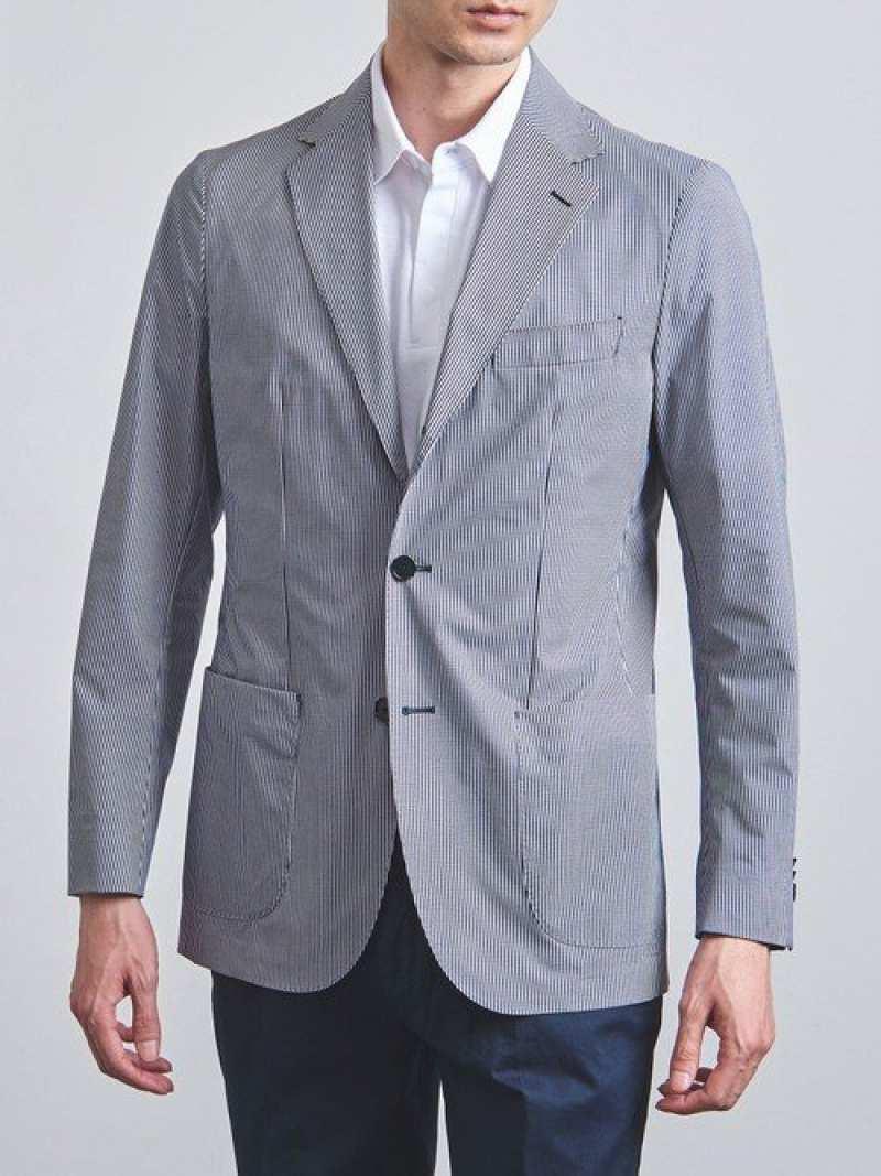 [Rakuten Fashion]<SOVEREIGN(ソブリン)>ストライププリント3Bソフトジャケット UNITED ARROWS ユナイテッドアローズ コート/ジャケット テーラードジャケット ネイビー【送料無料】