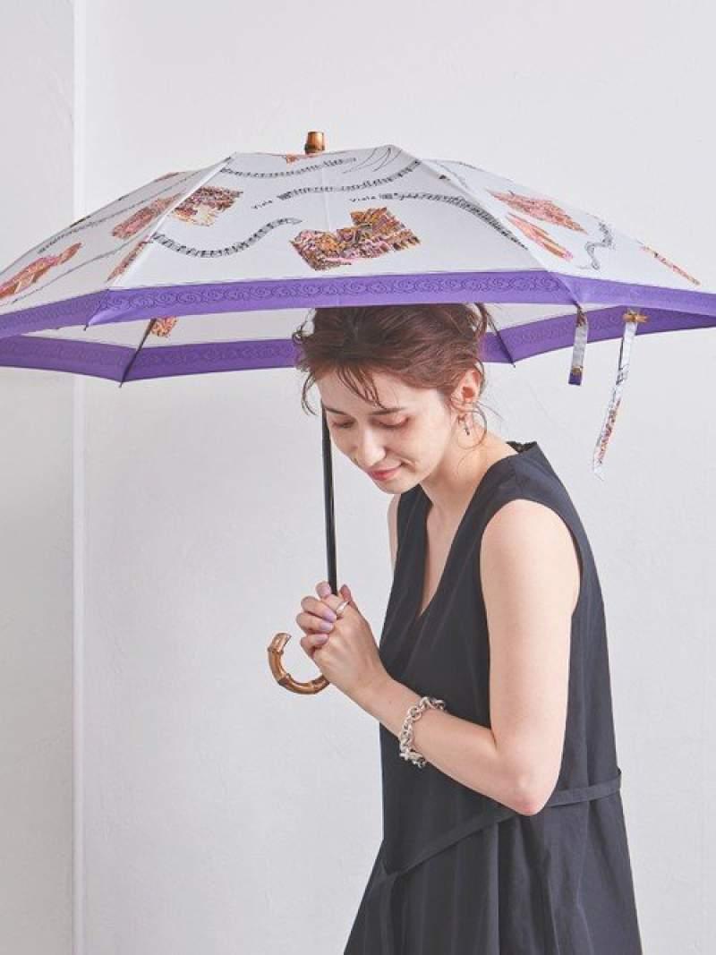 [Rakuten Fashion]<manipuri(マニプリ)>プリント折りたたみ晴雨兼用傘 UNITED ARROWS ユナイテッドアローズ ファッショングッズ 長傘 グレー オレンジ グリーン ネイビー【送料無料】