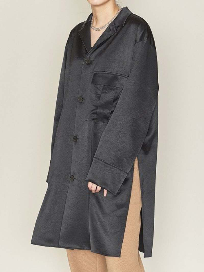 [Rakuten Fashion]<ASTRAET(アストラット)>オープンカラー スリット ロングブラウス ASTRAET ユナイテッドアローズ シャツ/ブラウス 長袖シャツ ブラック【送料無料】