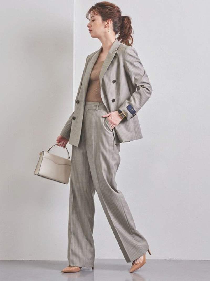 [Rakuten Fashion]【SALE/60%OFF】UPCBピンストライプワイドパンツ UNITED ARROWS ユナイテッドアローズ パンツ/ジーンズ フルレングス ベージュ グレー【RBA_E】【送料無料】