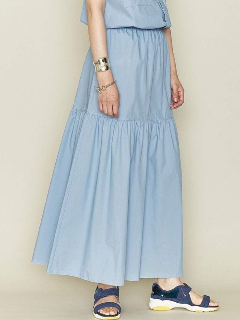 [Rakuten Fashion]<ASTRAET(アストラット)>C/Pギャザーフレアスカート† ASTRAET ユナイテッドアローズ スカート ロングスカート ブルー ブラック【送料無料】