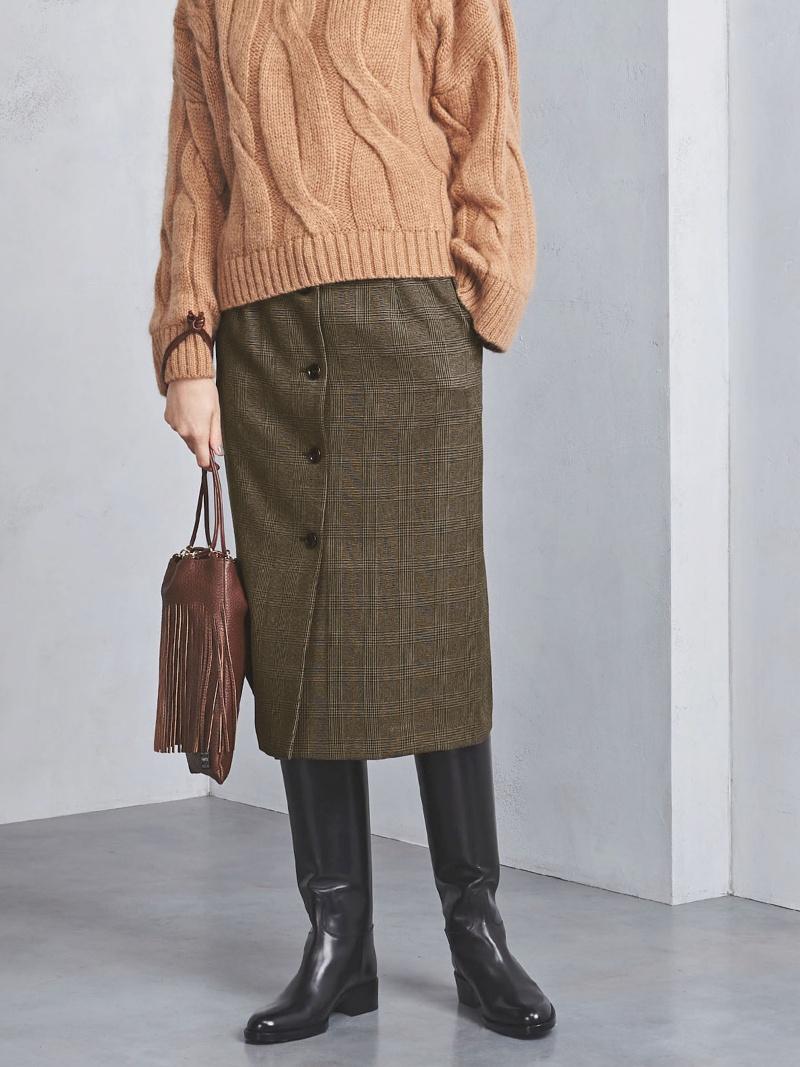 [Rakuten BRAND AVENUE]UWSC フロントボタン チェック タイトスカート UNITED ARROWS ユナイテッドアローズ スカート【送料無料】