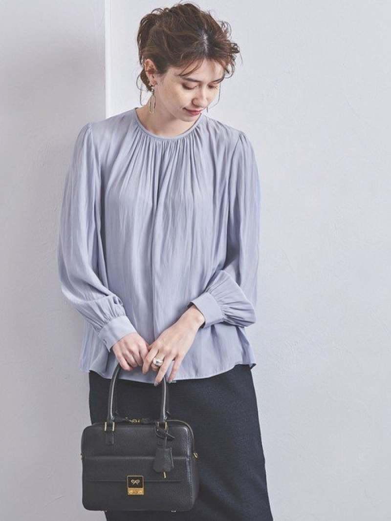 [Rakuten Fashion]UBCBギャザークルーネックブラウス UNITED ARROWS ユナイテッドアローズ シャツ/ブラウス シャツ/ブラウスその他 ブルー ホワイト ベージュ【送料無料】