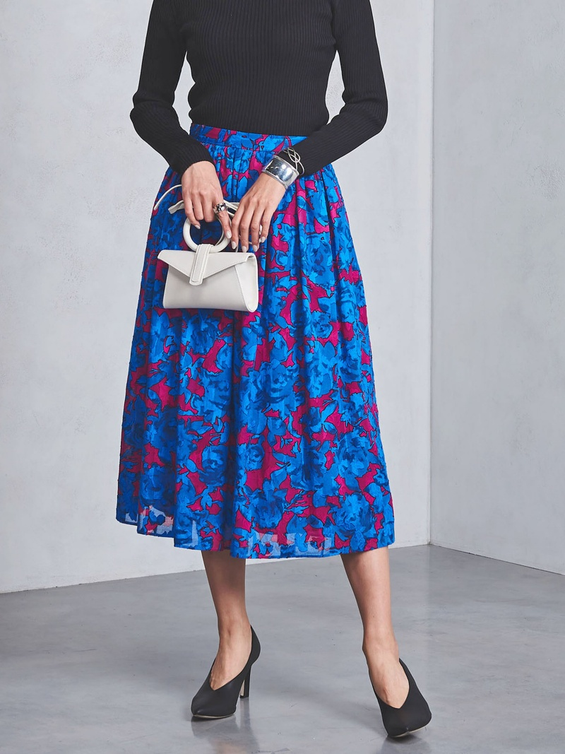 [Rakuten BRAND AVENUE]UBCS カットジャカード フラワープリント フレアスカート UNITED ARROWS ユナイテッドアローズ スカート【送料無料】
