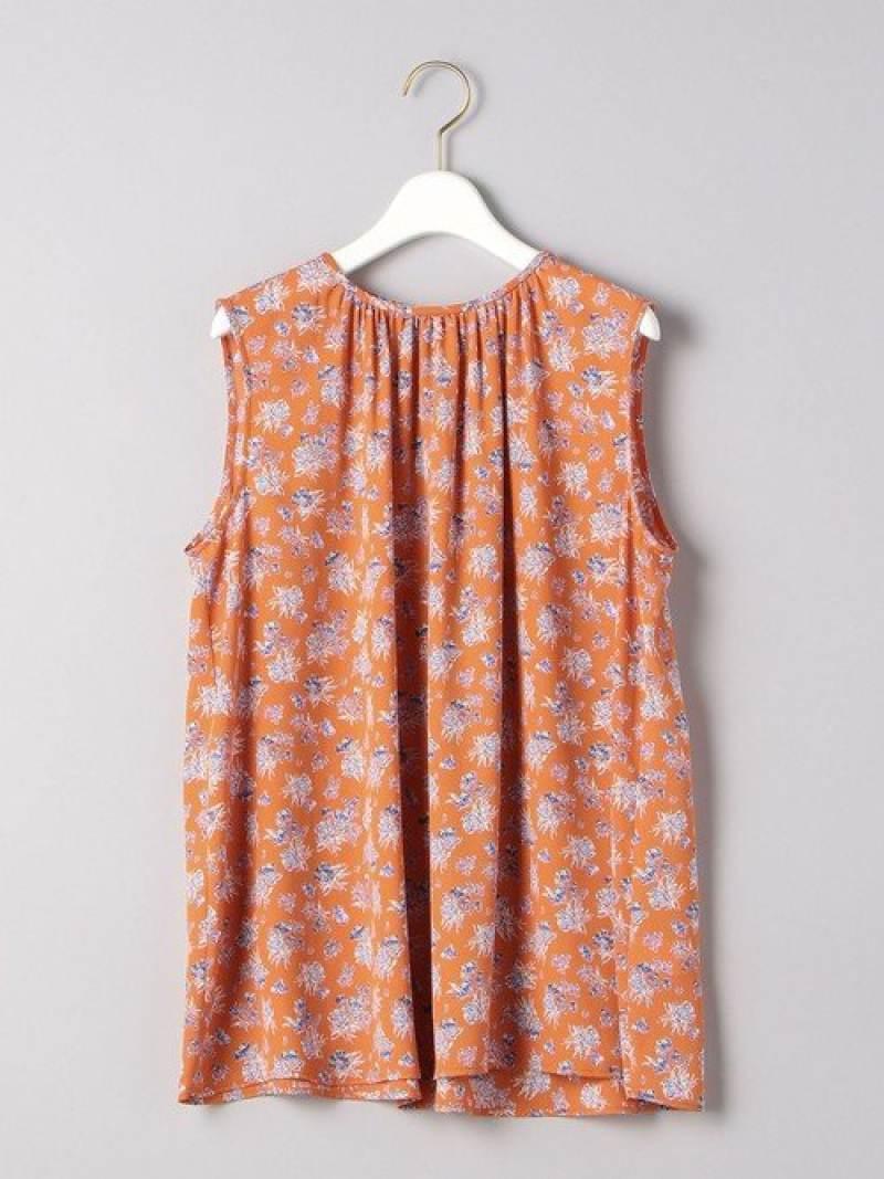 [Rakuten Fashion]UWCSフラワープリントブラウス UNITED ARROWS ユナイテッドアローズ シャツ/ブラウス ノースリーブ/キャミソールシャツ オレンジ ブラック【送料無料】