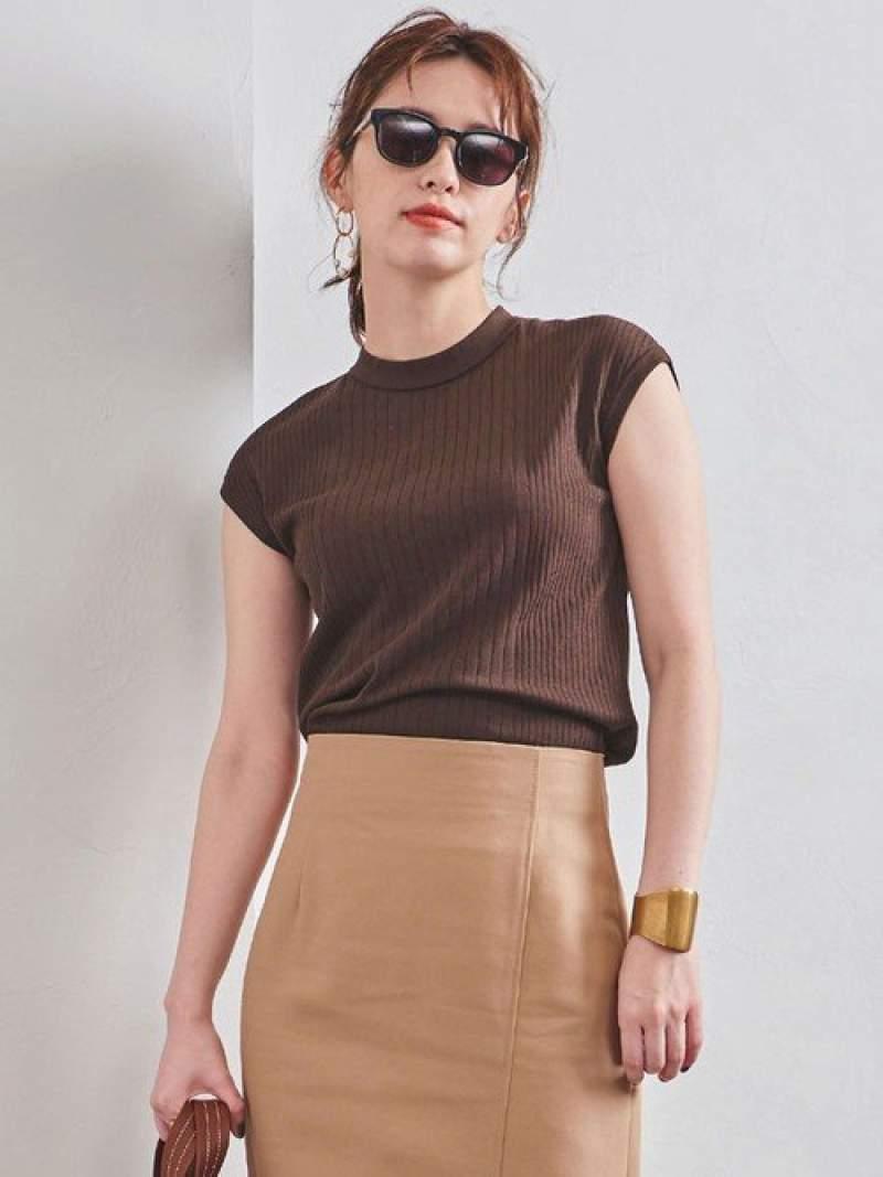 [Rakuten Fashion]UBCBミニハイネックフレンチスリーブニット UNITED ARROWS ユナイテッドアローズ ニット ノースリーブニット/ベスト ブラウン ホワイト ブラック パープル【送料無料】