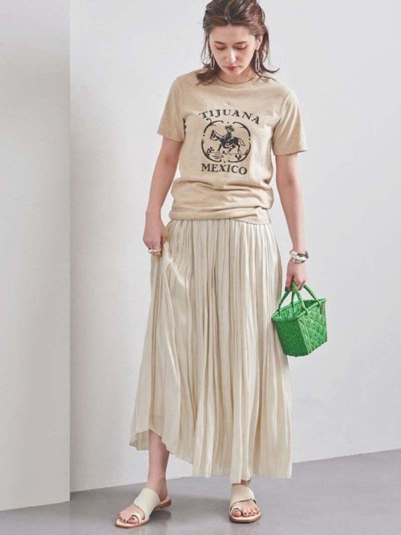 [Rakuten Fashion]UWFMシャイニーロングスカート UNITED ARROWS ユナイテッドアローズ スカート プリーツスカート/ギャザースカート ホワイト ゴールド シルバー ピンク【送料無料】
