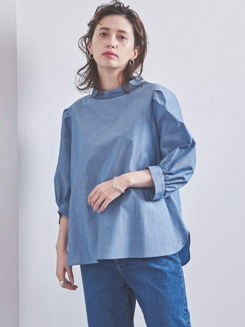 [Rakuten Fashion]<STYLEforLIVING>ハイネックタックスリーブブラウス† UNITED ARROWS ユナイテッドアローズ シャツ/ブラウス シャツ/ブラウスその他 ブルー ホワイト【送料無料】