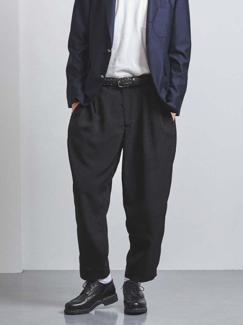 [Rakuten Fashion]<District(ディストリクト)>ポリエステルエッグ1プリーツ UNITED ARROWS ユナイテッドアローズ パンツ/ジーンズ クロップド/半端丈パンツ ブラック【送料無料】