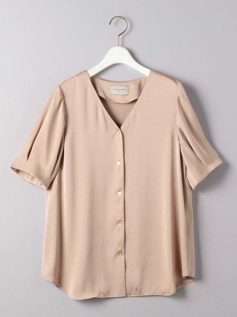 [Rakuten Fashion]UBCBサテンメタルボタン5SLブラウス UNITED ARROWS ユナイテッドアローズ シャツ/ブラウス シャツ/ブラウスその他 ベージュ ホワイト ブラウン カーキ【送料無料】