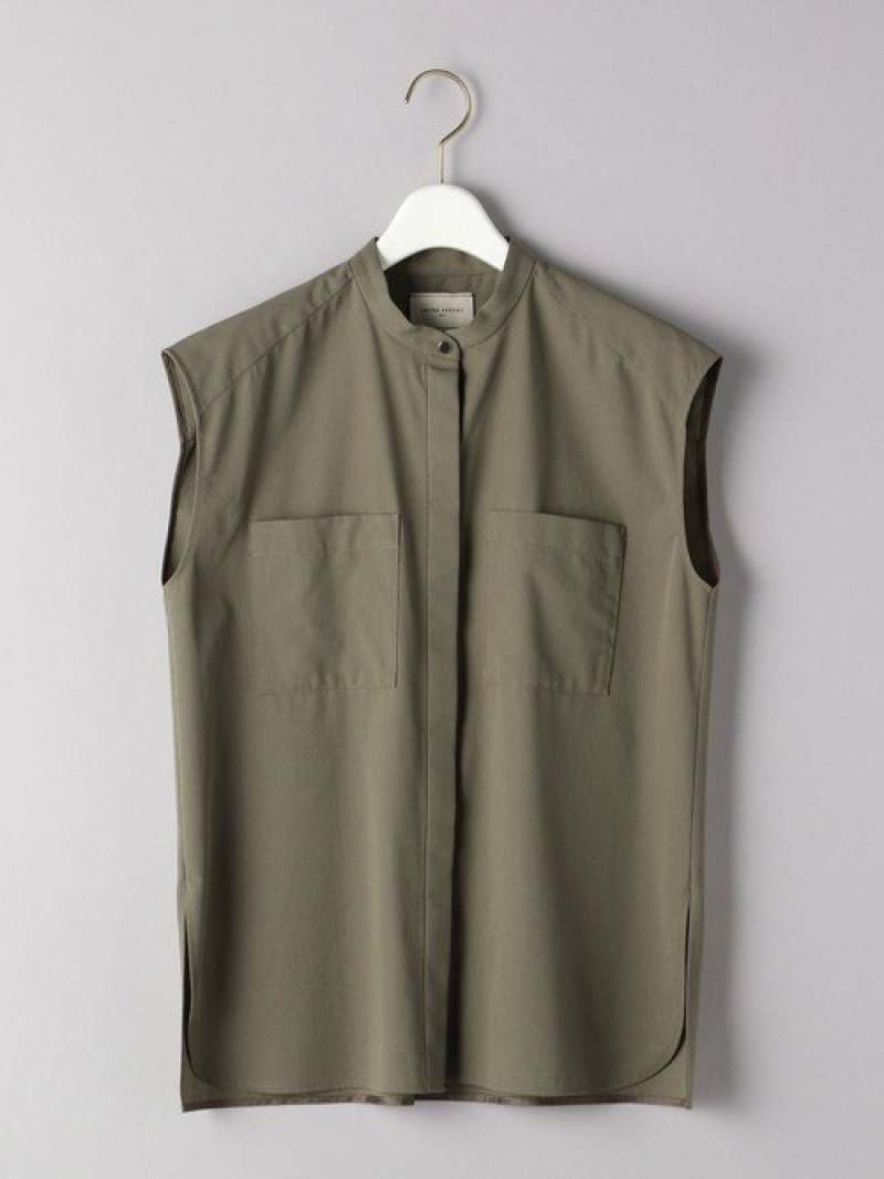 [Rakuten Fashion]UBCB2ポケットノースリーブシャツ UNITED ARROWS ユナイテッドアローズ シャツ/ブラウス ノースリーブ/キャミソールシャツ グリーン ホワイト【送料無料】