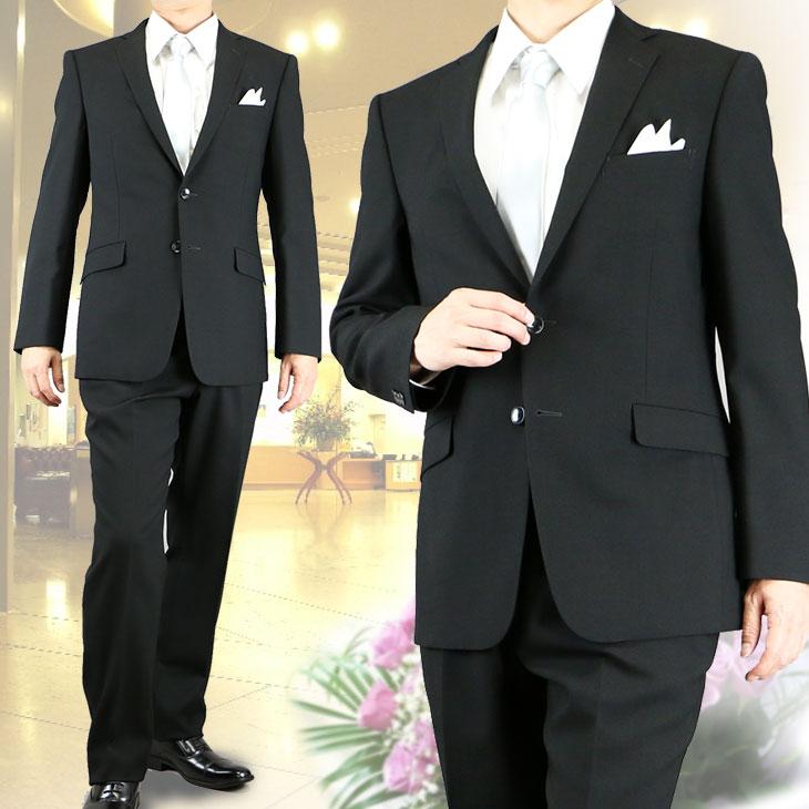【送料無料】礼服 夏用 メンズ 喪服 結婚式 ブラックフォーマル 卒業式 サマーフォーマル 夏礼服 スタイリッシュスリムフォーマル シングルフォーマル スーツ 6400