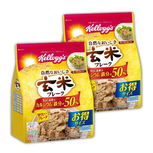 栄養価の高い玄米を主原料とした香ばしい甘くないフレークのシリアル。 ケロッグ 玄米フレーク徳用 袋 400g 6袋セット
