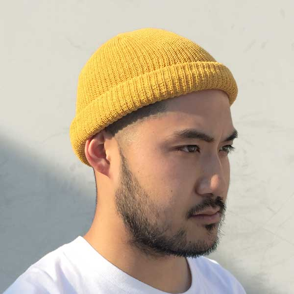 27840371ffe (advance) is knit hat yellow   yellow a beanie watch cap hat plain fabric  in the summer round and round COTTON BEANIE(YELLOW) SOLID SUMMER KNIT  BEANIE CAP