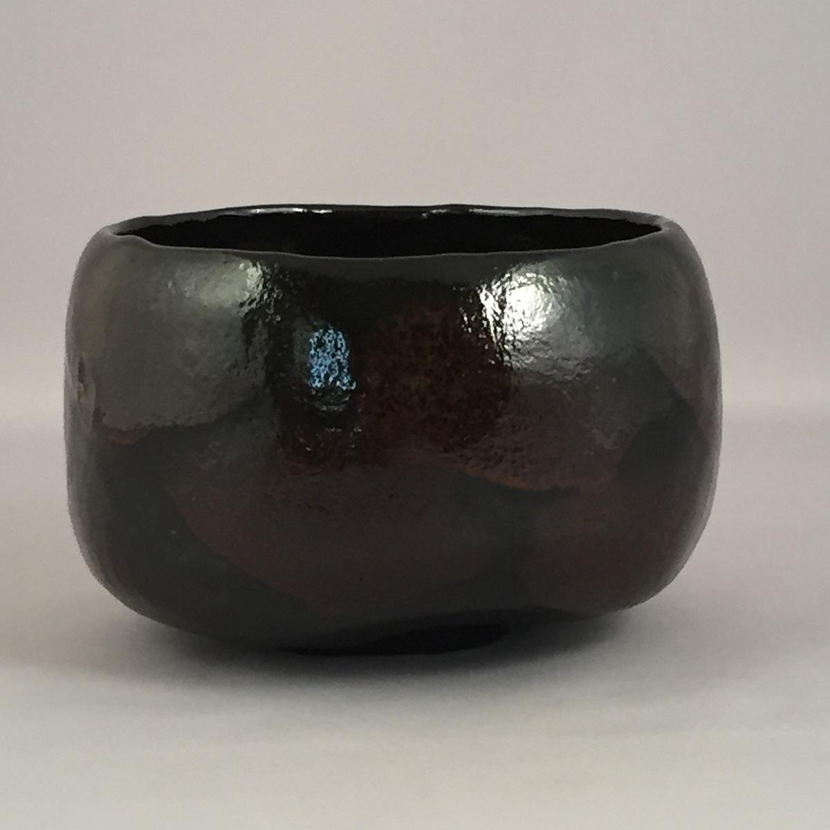 【共箱】三代 佐々木昭楽作 銘「紙屋」 光悦写 黒楽茶碗 茶道具