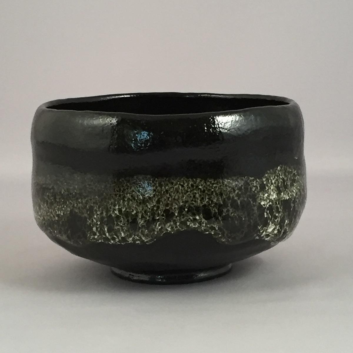 【共箱】三代 佐々木昭楽作 銘「荒磯」 のんこう写 黒楽茶碗 茶道具