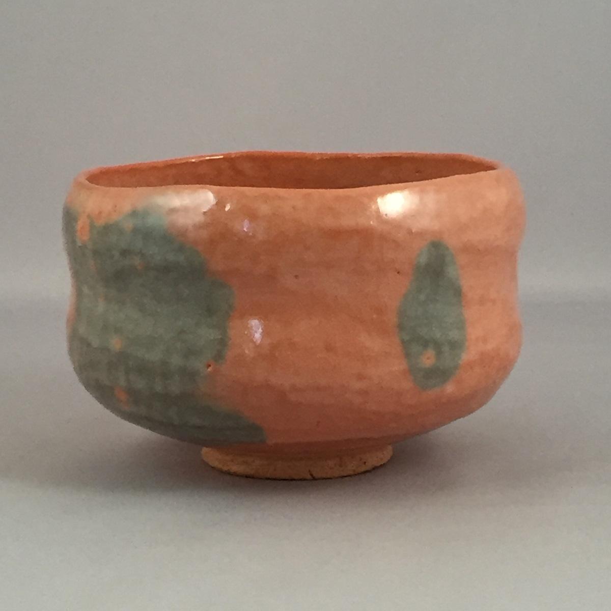 【共箱】三代 佐々木昭楽作 銘「鳳林」 のんこう写 赤楽茶碗 茶道具