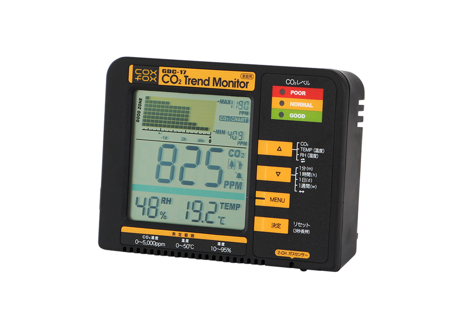 coxfox / コックスフォックス 二酸化炭素濃度トレンドモニター  GDC-17 二酸化炭素濃度計 湿度計 温度計  二酸化酸素を見える化する  湿度計、温度計