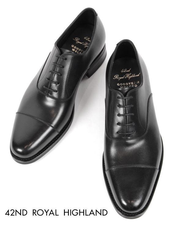 【国内正規品】 19-20AW 42ND ROYAL HIGHLAND ストレートチップ ドレスシューズ 紳士靴 革靴 ビジネス ビブラム ソール フォーティーセカンドロイヤルハイランド ch9301-01 ブラック