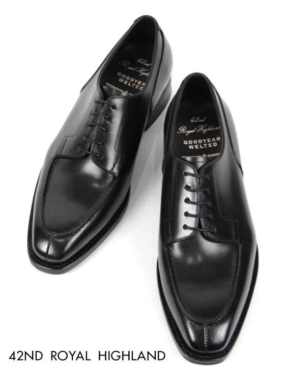 【国内正規品】 19-20AW 42ND ROYAL HIGHLAND Uチップ ドレスシューズ 紳士靴 革靴 ビジネス ビブラム ソール フォーティーセカンドロイヤルハイランド CH9401-01 ブラック