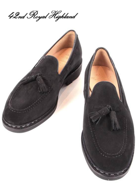 【国内正規品】42ND ROYAL HIGHLAND EXPLORER フォーティーセカンドロイヤルハイランド エクスプローラー タッセルローファー スエード オリジナルラバーソール ドレスシューズ 紳士靴 革靴 ビジネス CHN7002S-01 BLACK ブラック