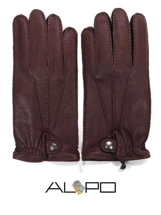 【10%OFFセール】【国内正規品】 ALPO アルポ レザーグローブ ダークブラウン 鹿革 シボ革 揉み革 手袋 メンズ AP182UA CERVO239 TAN