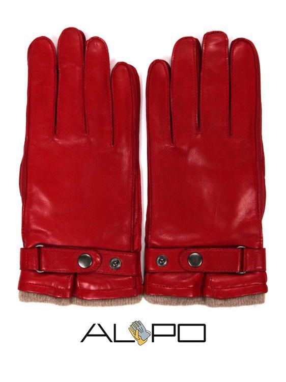 【10%OFFセール】【国内正規品】 ALPO アルポ ラムレザーグローブ レッド 羊革 手袋 メンズ AP182UA NAPPA CINT RUBINO
