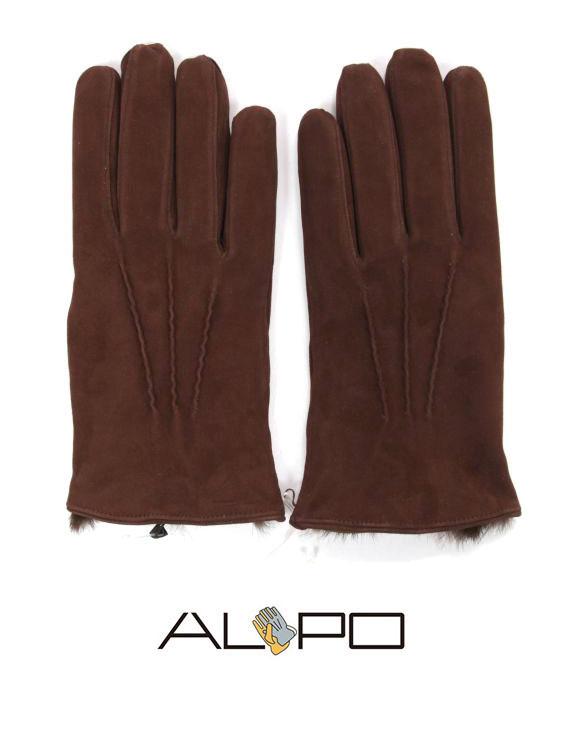 【国内正規品】 ALPO アルポ スエードグローブ ダークブラウン 手袋 メンズ AP182UA SUEDE LAPIN TABACCO 裏地ラピッドファー
