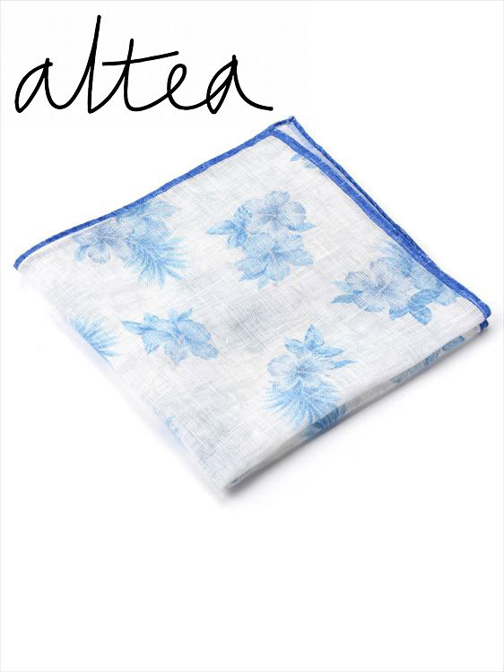 【国内正規品】 Altea アルテア 花柄 ポケットチーフ AL181UA1858413 イタリア製 ハイビスカス柄 ハンカチーフ ブルー×ホワイト