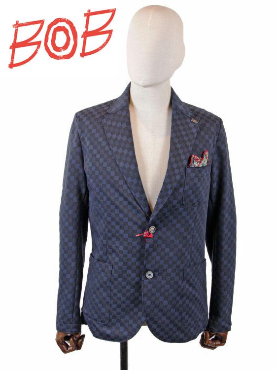 【国内正規品】 BOB COMPANY ボブカンパニー 2B シングルテーラードジャケット ブロックチェック柄 072703125-0084 ネイビー
