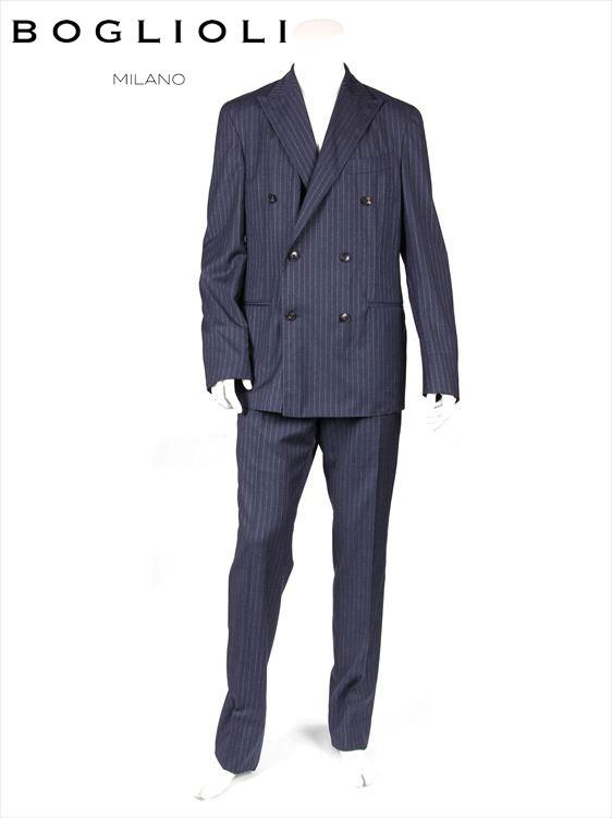 【国内正規品】BOGLIOLI ボリオリ 6B ストライプ セットアップ スーツ 220-31238 イタリア製 ダブルブレスト