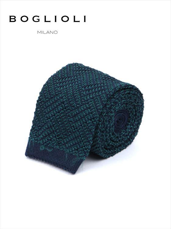 【国内正規品】 BOGLIOLI ボリオリ シルク ニットタイ ネクタイ 221-38902-590 ダークグリーン 緑 イタリア製