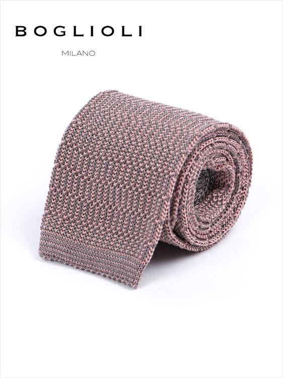 【国内正規品】 BOGLIOLI ボリオリ シルク ニットタイ ネクタイ 222-18902-090 ピンク イタリア製