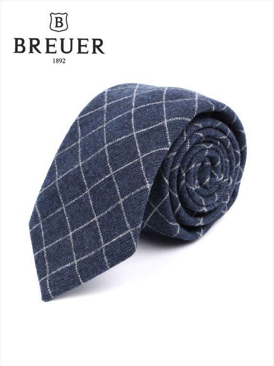 【国内正規品】Breuer ブリューワー レジメンタルストライプ ネクタイ ブルー ウール シルク 277-28067-090 ネイビー 紺 イタリア製