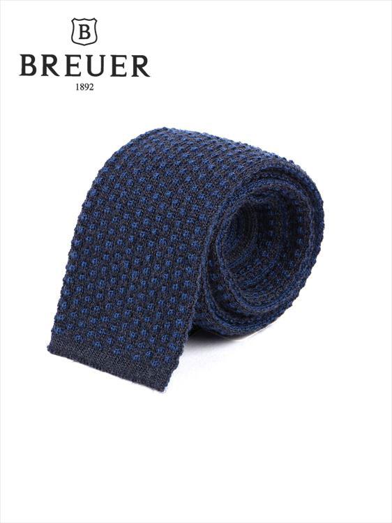 【国内正規品】 Breuer ブリューワー ニットタイ ネクタイ ネイビー ウール シルク 277-29919-010 紺色 イタリア製