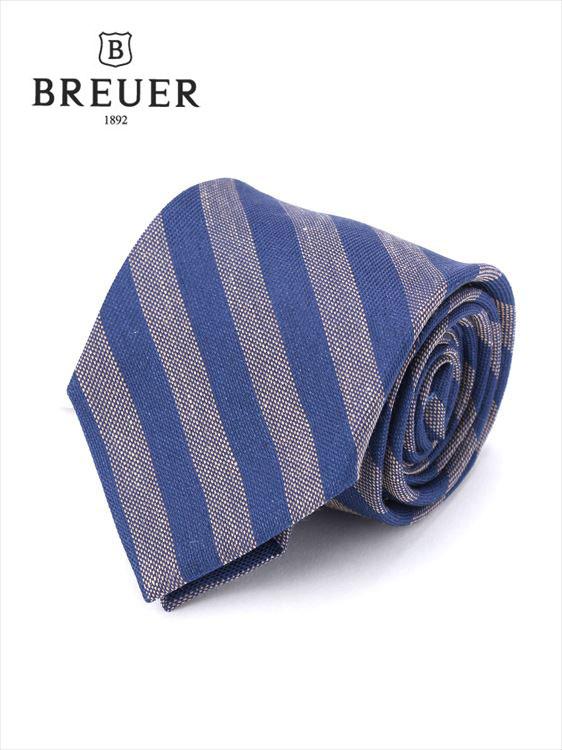 【国内正規品】 Breuer ブリューワー レジメンタルストライプ ネクタイ ブルー 277-59942-080 イタリア製 シルク 麻