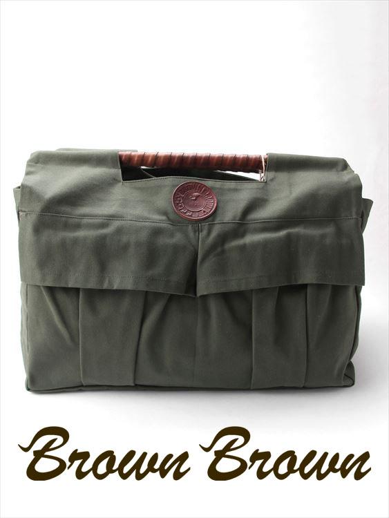 BrownBrown ブラウンブラウン トートバッグ キャンバス地 幌布 BBL-732 グリーン ストレートウッドハンドル レザー