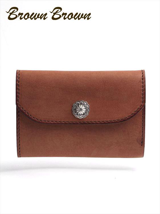 BrownBrown ブラウンブラウン カフーレザー ウォレット コンチョ付 三つ折り 財布 本革 BBL-CL05 ブラウン