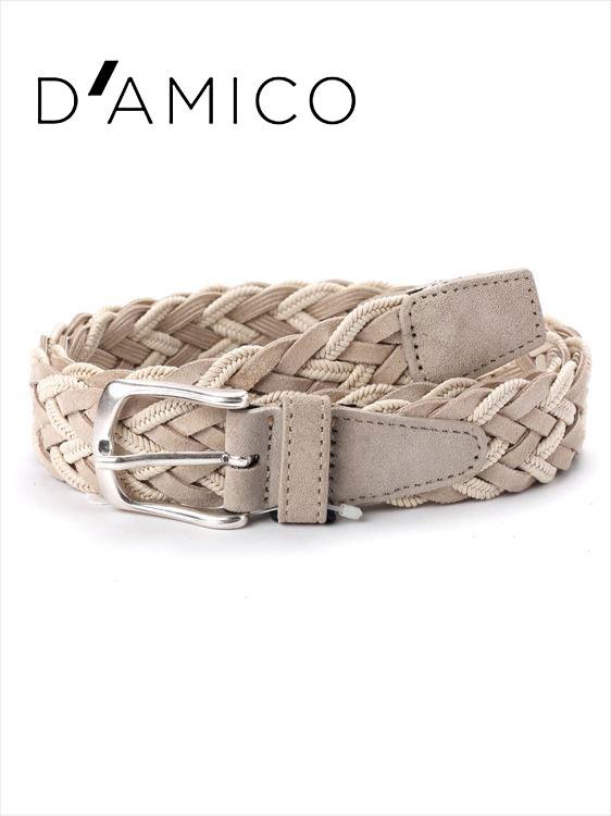 【国内正規品】Andrea D'AMICO アンドレアダミコ INT-HONOLULU レザー×コットン スエードメッシュベルト 400 ベージュ / ACU2517 DAMICO