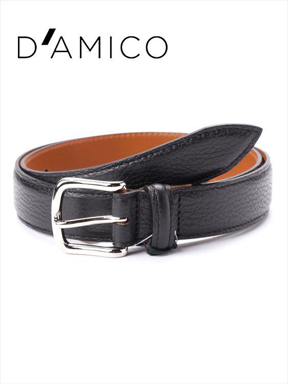 【20%OFFセール】【国内正規品】Andrea D'AMICO アンドレアダミコ STAMPA ALCE レザーベルト シボ革 999 ブラック / ACUB011 DAMICO