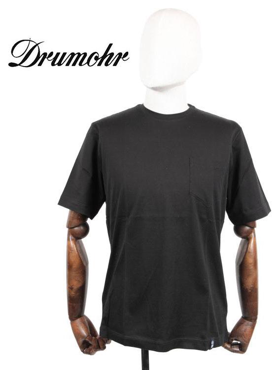 【10%OFFセール】【国内正規品】 Drumohr ドルモア クルーネック 半袖 カットソー Tシャツ 胸ポケット付 YTM000 ブラック
