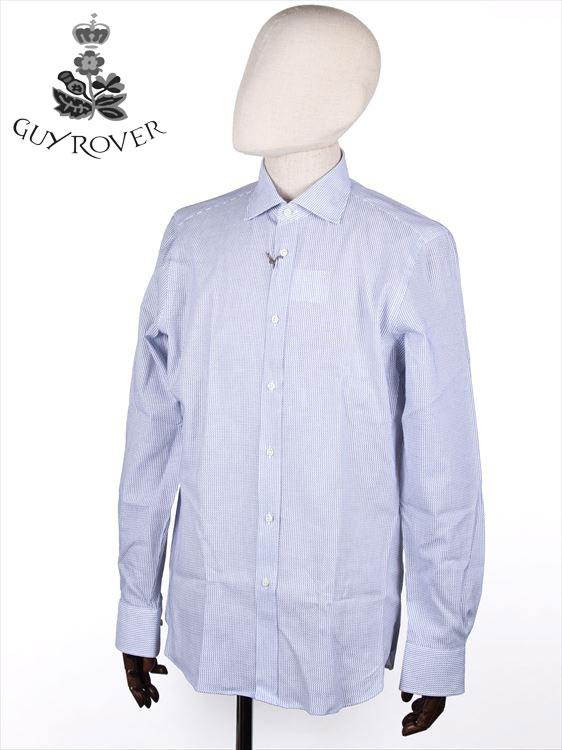 メンズ プレゼント ギフトラッピング無料 20%OFFセール 国内正規品 GUYROVER ギローバー NEW売り切れる前に☆ ブルー×ホワイト カッタウェイシャツ 出色 カラミ織り イタリア製 ホリゾンタル 581202-03