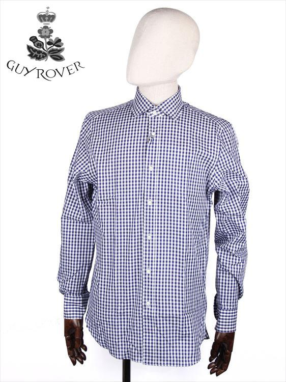 【国内正規品】GUYROVER ギローバー カッタウェイシャツ ブルー×ホワイト 581233 イタリア製 ブロックチェック柄 ホリゾンタル
