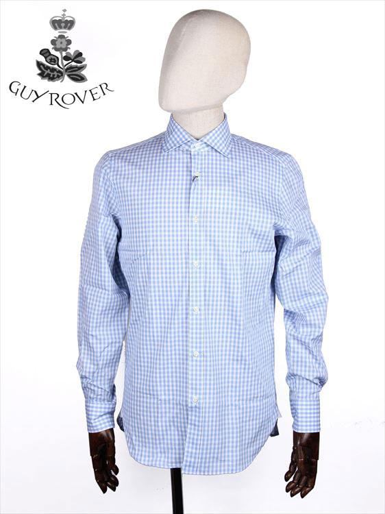 【国内正規品】GUYROVER ギローバー カッタウェイシャツ 水色×ホワイト 581233 イタリア製 ブロックチェック柄 ホリゾンタル