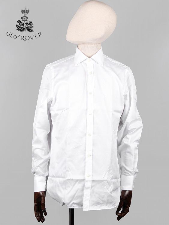 【20%OFFセール】【国内正規品】GUYROVER ギローバー カッタウェイシャツ ホワイト 581903 イタリア製 ホリゾンタル