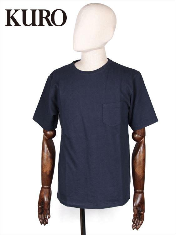 【国内正規品】 KURO クロ シアサッカー 半袖 Tシャツ カットソー ネイビー 962064 コットン 胸ポケット