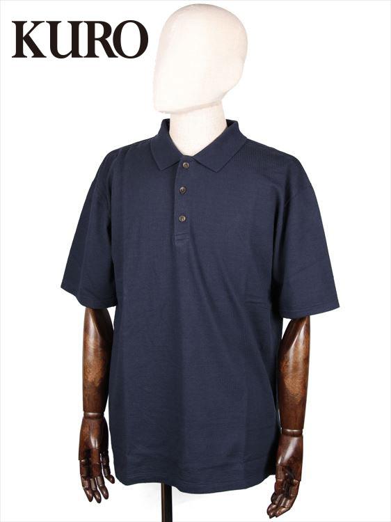 【国内正規品】KURO クロ SEERSUCKER POLO SHITS シアサッカー ポロシャツ ネイビー 962065 コットン