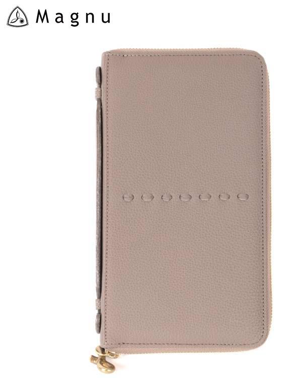 【国内正規品】MAGNU マヌー PASSPORT CASE レザーウォレット パスポートケース 革財布 ファスナー 本革 KN-001 グレー