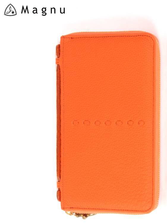 【国内正規品】MAGNU マヌー PASSPORT CASE レザーウォレット パスポートケース 革財布 ファスナー 本革 KN-001 オレンジ